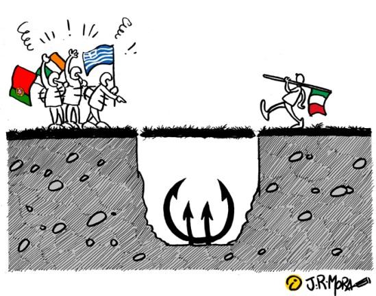 Caricatura Italia y el Euro /Fuente: La Información
