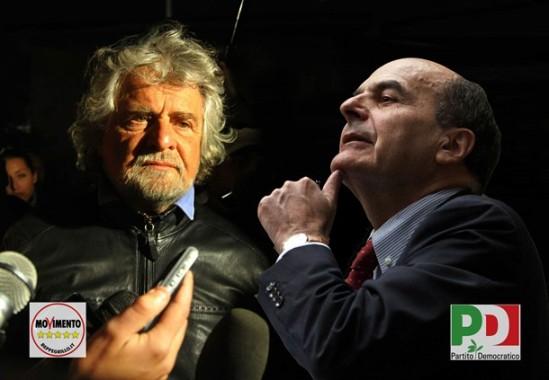 Grillo y Bersani/ Fuente: Un mese dalla fine