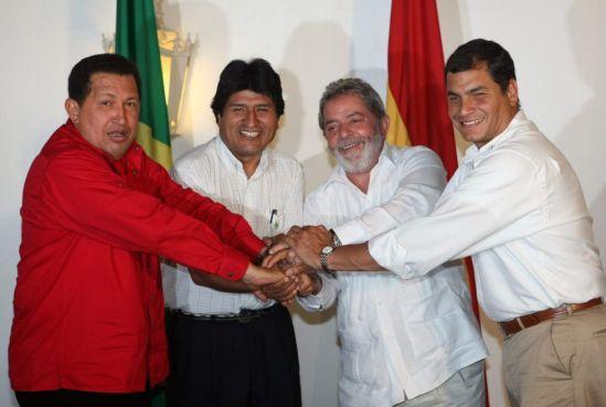 Chávez con Morales, Da Silva y Correa/ Fuente: El País