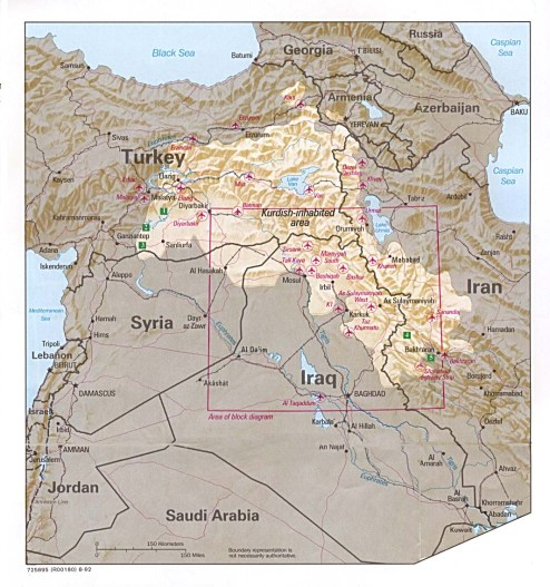 Mapa de Kurdistán/ Fuente: Mapas Owje
