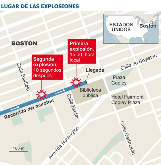 Mapa de las explosiones/ Fuente: El País